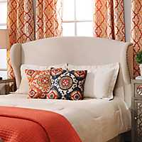 Tan Linen Wingback Queen Headboard