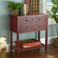 Red Beadboard Console Table