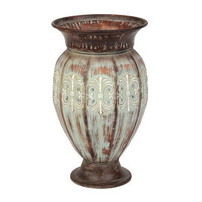 Verdigris Metal Floor Vase