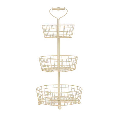 Cream 3-Tier Wire Basket