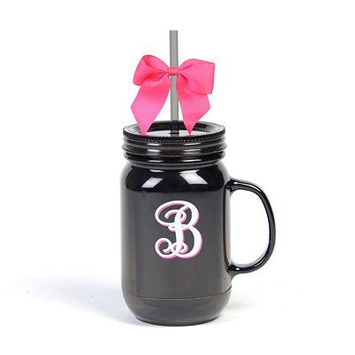 Black Monogram B Tumbler with Pink Bow