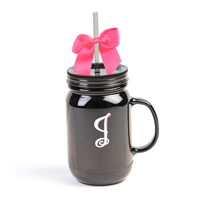 Black Monogram J Tumbler with Pink Bow