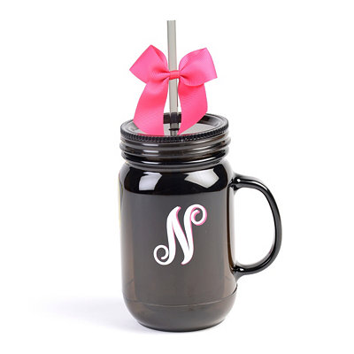 Black Monogram N Tumbler with Pink Bow
