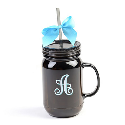 Black Monogram A Tumbler with Turquoise Bow