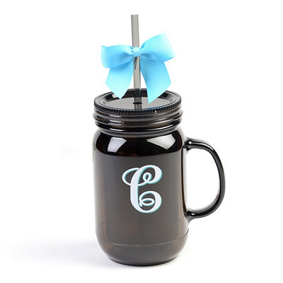 Black Monogram C Tumbler with Turquoise Bow