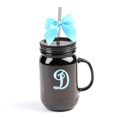 Black Monogram D Tumbler with Turquoise Bow