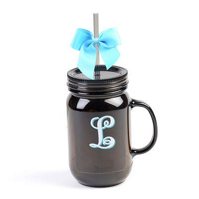 Black Monogram L Tumbler with Turquoise Bow
