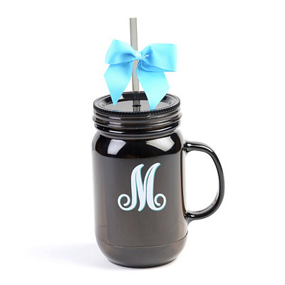 Black Monogram M Tumbler with Turquoise Bow
