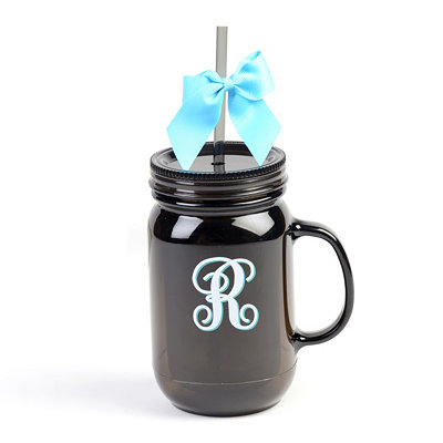 Black Monogram R Tumbler with Turquoise Bow