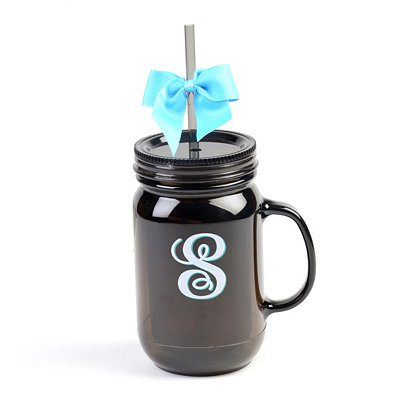 Black Monogram S Tumbler with Turquoise Bow