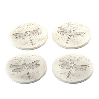 Absorbent Dragonfly Coasters, Set of 4