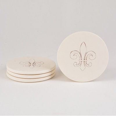 Absorbent Fleur-de-lis Coasters, Set of 4