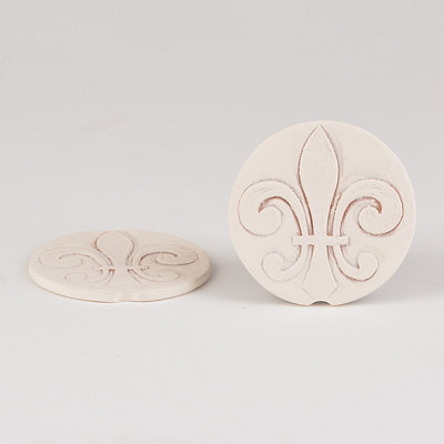 Fleur-de-lis Car Coasters, Set of 2