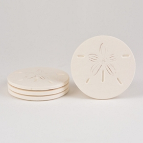 Absorbent Sand Dollar Coasters, Set of 4