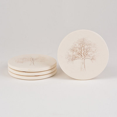 Absorbent Tree Coasters, Set of 4
