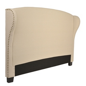 Tan Linen Wingback King Headboard