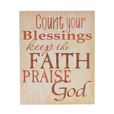 Count Your Blessings Wood Plaque