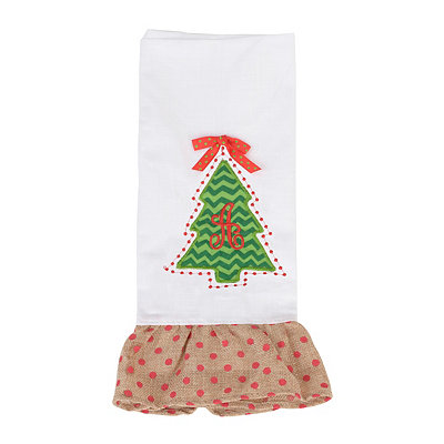 Christmas Tree Monogram A Hand Towel