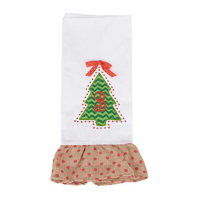Christmas Tree Monogram B Hand Towel