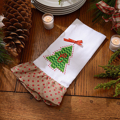 Christmas Tree Monogram C Hand Towel