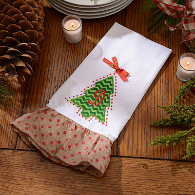 Christmas Tree Monogram D Hand Towel