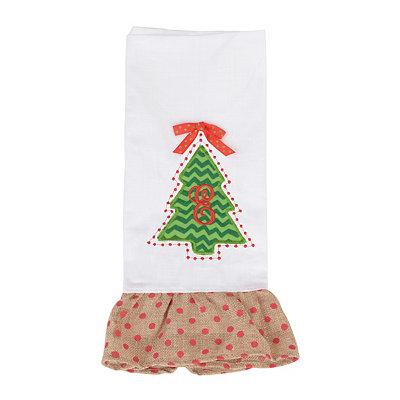 Christmas Tree Monogram E Hand Towel