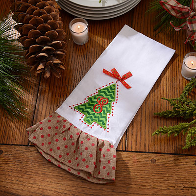 Christmas Tree Monogram E Hand Towel