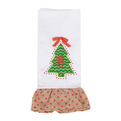 Christmas Tree Monogram G Hand Towel