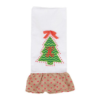 Christmas Tree Monogram H Hand Towel