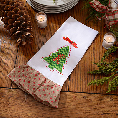 Christmas Tree Monogram H Hand Towel