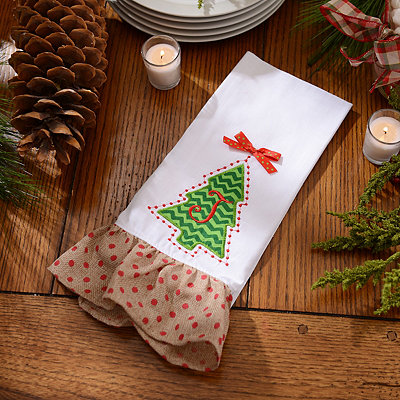 Christmas Tree Monogram J Hand Towel
