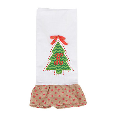 Christmas Tree Monogram K Hand Towel