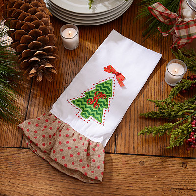 Christmas Tree Monogram K Hand Towel