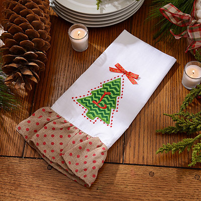 Christmas Tree Monogram L Hand Towel
