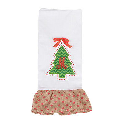 Christmas Tree Monogram M Hand Towel