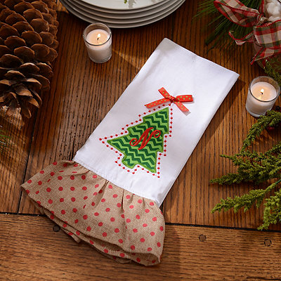 Christmas Tree Monogram N Hand Towel