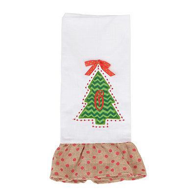 Christmas Tree Monogram O Hand Towel