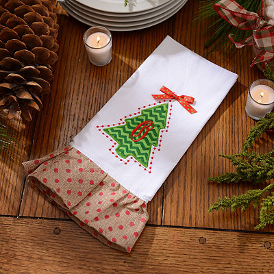 Christmas Tree Monogram O Hand Towel