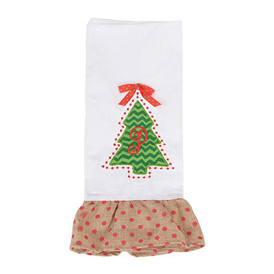 Christmas Tree Monogram P Hand Towel