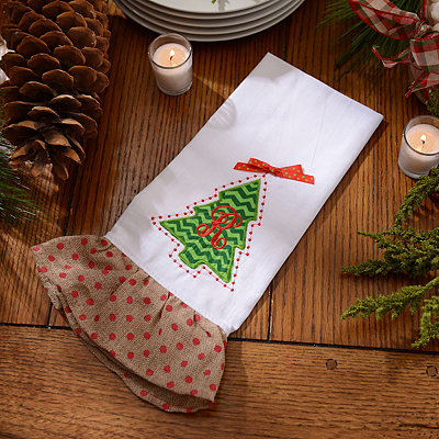 Christmas Tree Monogram R Hand Towel