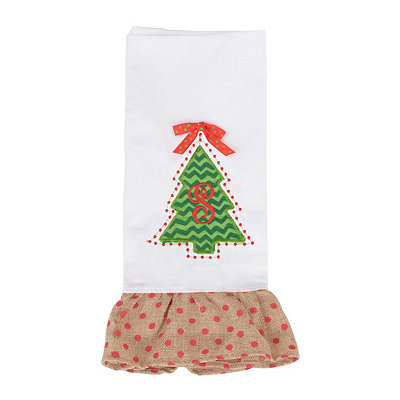 Christmas Tree Monogram S Hand Towel