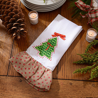 Christmas Tree Monogram T Hand Towel