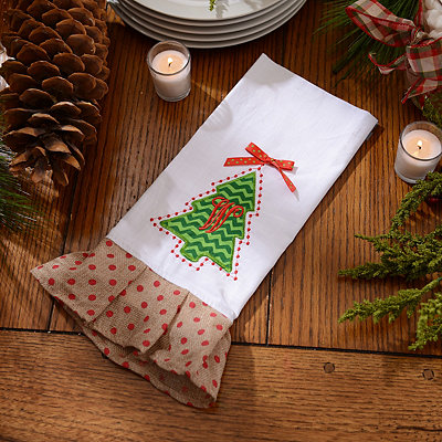 Christmas Tree Monogram W Hand Towel