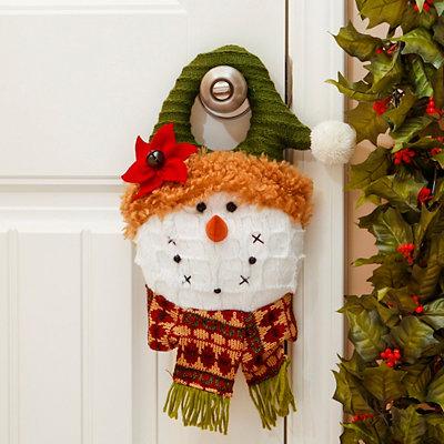 Green Hat Snowman Door Hanger
