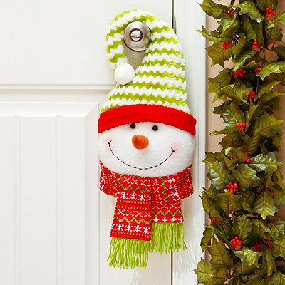 Chevron Snowman Door Hanger
