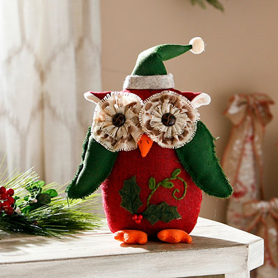 Red Holly Tabletop Owl
