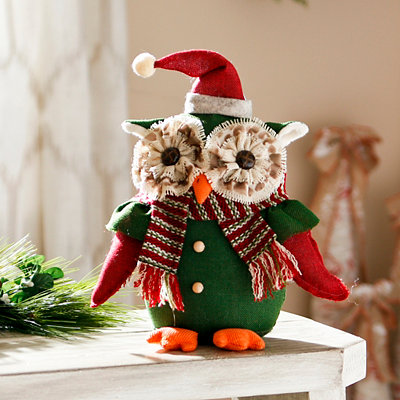 Green Tabletop Owl with Scarf
