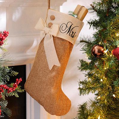 Mrs. Burlap Christmas Stocking