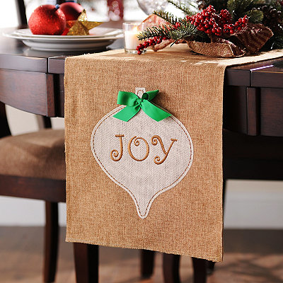 Burlap Ornament Table Runner