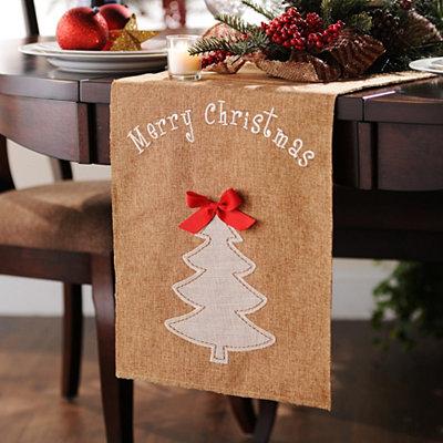 Burlap Christmas Tree Table Runner